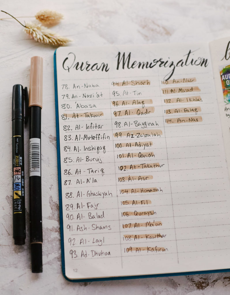 A Quran Memorization Bullet Journal Collection which breaks down each surah of Juz Amma as an individual step.