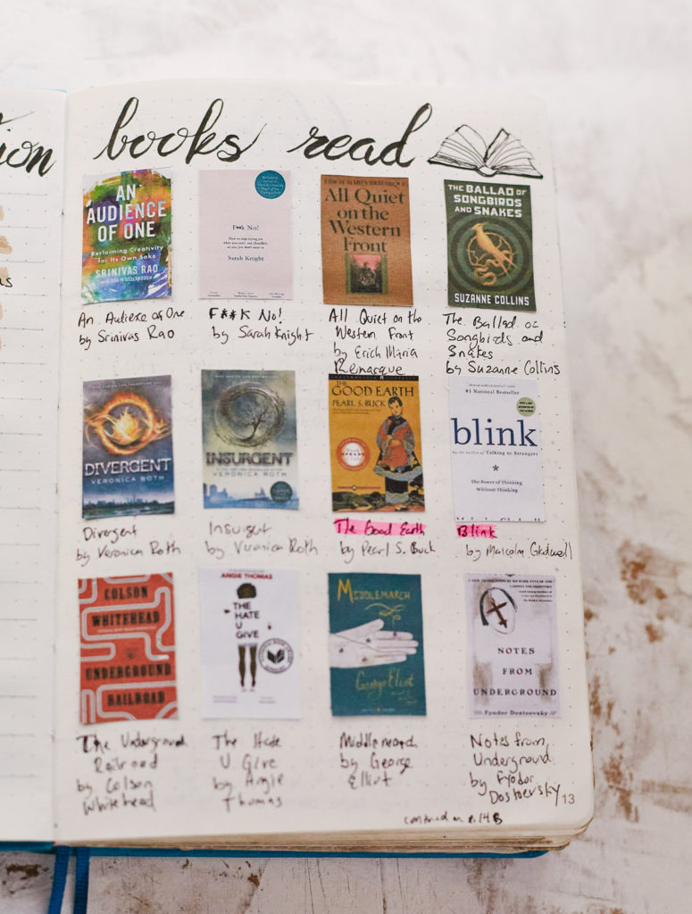 "An example of a ""Books Read"" collection in a Bullet Journal showing pictures of book covers with the titles and authors written underneath."
