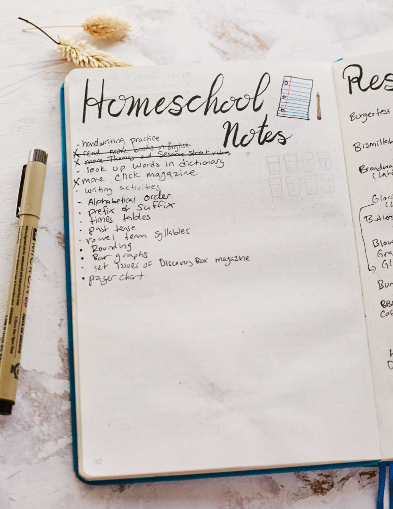 "An example of a ""homeschooling notes"" collection with items like ""look up words in dictionary"" and ""past tense."""