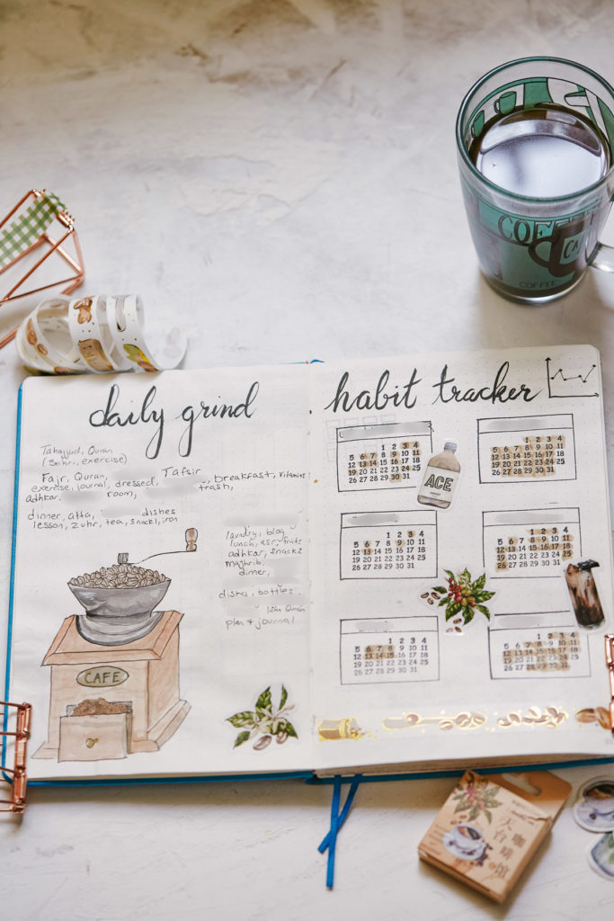 As a part of the Bullet Journal Guide for Muslim Women, this is a sample page showing a daily tasks list (titled here Daily Grind) and a Habit Tracker