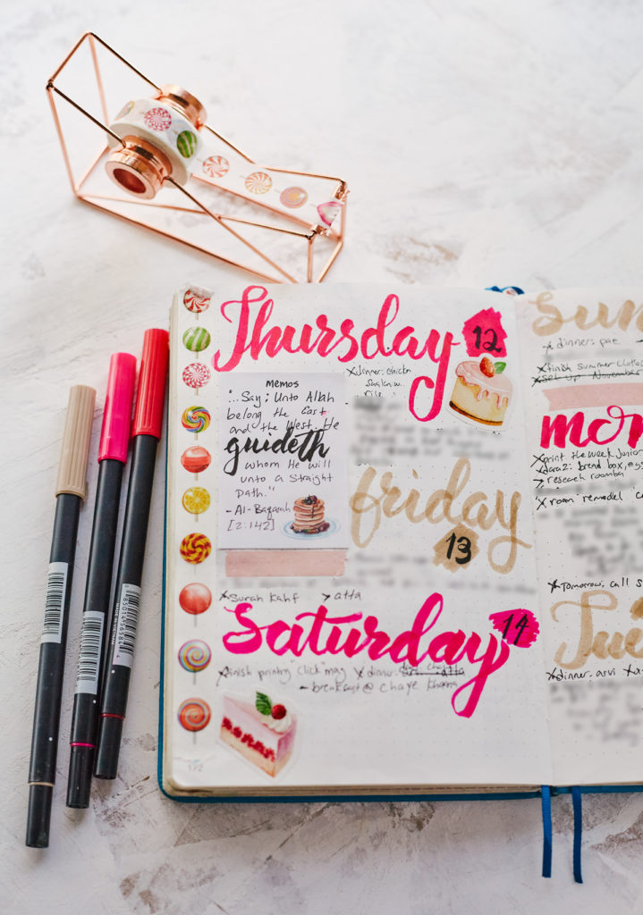 An optional style of artistic Bullet Journaling with washi tape, stickers and brush pen lettering.